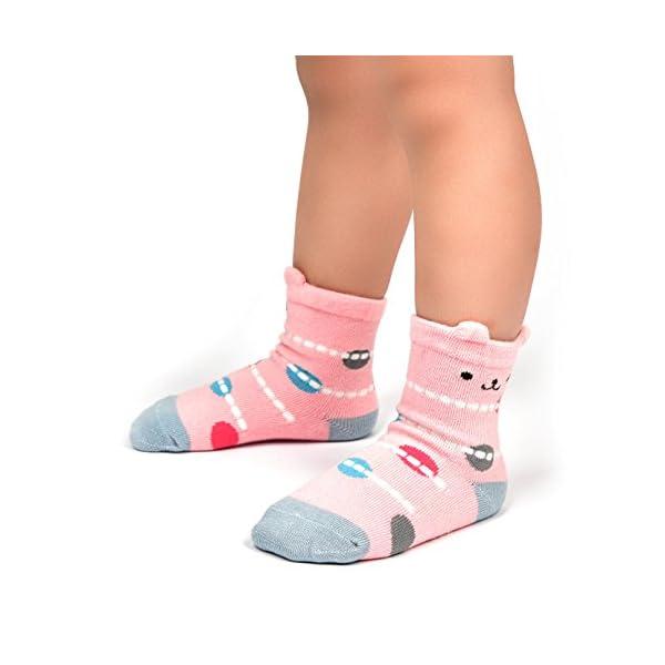 Wobon 12 Pares para Algodón Recién Nacido Infantil Niña Calcetines, Calcetines Antideslizantes para Bebé Niñas 2
