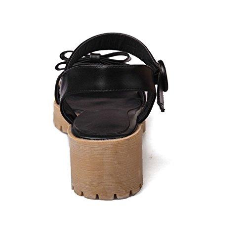COOLCEPT Femme Mode Sangle De Cheville Sandales Talon Bloc Bout Ouvert Slingback Chaussures Avec Bow Taille Noir