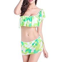 SiDiOU Group De alta calidad de alta Elastic Traje de baño Mujer Imprimir Falda Conjunto de bikini Lotus Leaf Borde de las mujeres de natación traje de baño de playa