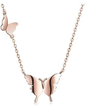 Unendlich U Elegant Doppel Schmetterlinge Damen Halskette 925 Sterling Silber Anhänger Collier Verstellbare Kette...