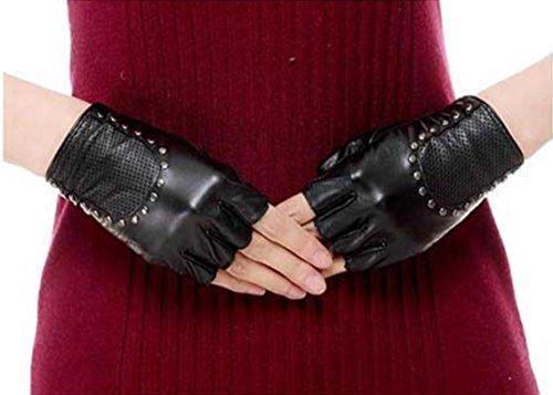 GQQgloves Hommes et Femmes Couple Locomotive à bicyclette Gant demi-doigt Cuir en peau de mouton Anti-glissement Ecran solaire Givre Noir Rouge Marron Blanc Black