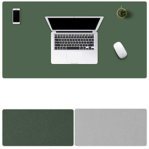 LL-COEUR Zweiseitig Leder Mauspad Multifunktional Schreibtischunterlage Büro Wasserdicht Mausmatte (Armee-Grün + hellgrau, 900 x 450 x 2 mm) -