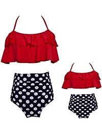 d984289b4b2 YiLianDaD Bikini Conjuntos de Cintura Alta Trajes de Baño con Volantes Ropa  de Baño de Impresión Flor para Familia…