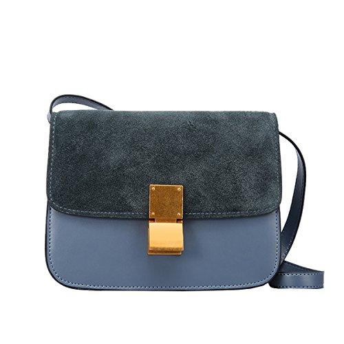 Valin Q0848 Damen Leder Handtaschen Satchel Tote Taschen Schultertaschen Blau