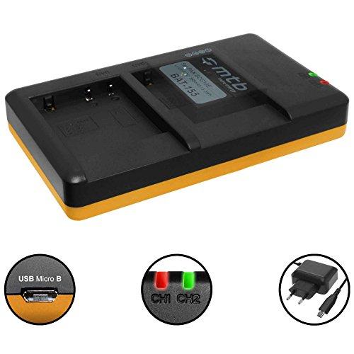 Dual-Ladegerät (Netz, USB) für Panasonic DMW-BCG10(E), BCF10(E) / Lumix DMC-FH, FS, FT, FX, TS, TZ, ZR, ZS, ZX und mehr... - siehe Liste - inkl. 2A Netzteil (2 Akkus gleichzeitig ladbar)