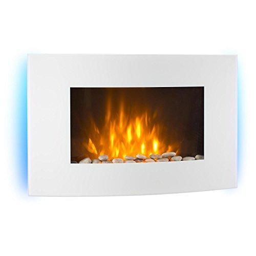 Klarstein Lausanne • Chimenea eléctrica horizontal de pared • Rendimiento de 1000 o 2000 W • calefactor eléctrico • completamentede vidrio • ilusión de llamas • Regulable • instalación de pared que ahorra espacio • incluye control remoto • blanco