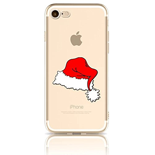 Vandot 3D Creativo Cartoon Case Cover per iphone 7 (4.7 Pollici), Elegante Ultra Sottile Morbida Cristallo Clear Trasparente TPU Flessibile Gel Silicone Case Motivo Stampa Snowflake Shockproof Anti-Im Christmas series 17