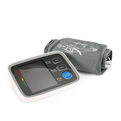 Digitale Oberarm Blutdruckmessgerät mit LCD-Display Leicht und Tragbar Blutdruck Messgerät zur Vollautomatischen Messung von Blutdruck und Puls Blutdruckmesser für den Oberarmumfang von 8,6 ~ 12,5 Zoll