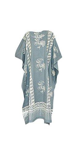 Damen Baumwolle Kaftane (Coole Kaftane JAVA Print Cotton Strand Kaftan Kaftan-Kleid Ein Plus Size Damen-Frauen Handmade Batik Strand)