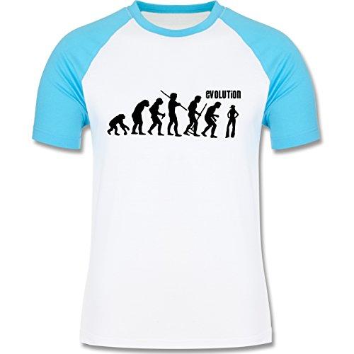 Evolution - Cowgirl Evolution - zweifarbiges Baseballshirt für Männer Weiß/Türkis