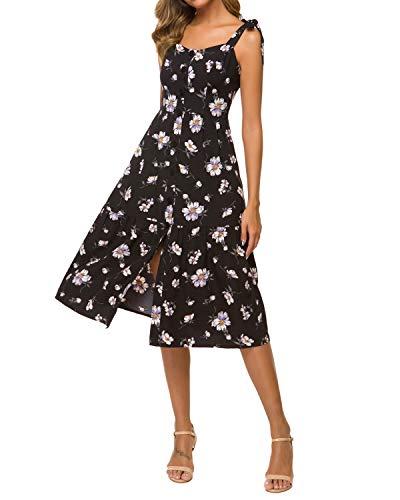 Unifizz Damen Sommerkleider Freizeit Tie Strap Casual Dress Floral Button Front Split Pleated Ruffle Hem Midi Dress Floral_Schwarz X-Large -