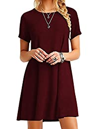OMZIN Women Short Sleeve Loose Casual T-Shirt Tops Dress Plus Size XS-4XL 2167cdbea