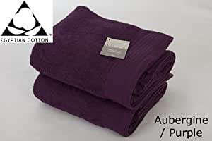 Pair of JUMBO PURPLE/ AUBERGINE Prestige 'Luxor' Egyptian Cotton 650gsm Bath Sheets HUGE SIZE 180cm x 100cm