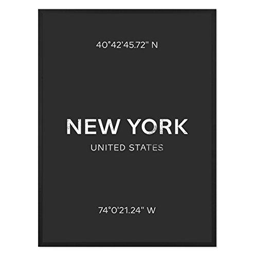 PHOTOLINI Design-Poster mit Bilderrahmen Schwarz 'New York' 30x40 cm schwarz-Weiss Karte Typografie Modern