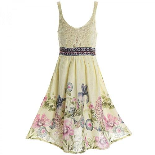 BEZLIT Mädchen Kinder Spitze Kleid Peticoat Fest Kleider Sommerkleid Kostüm 20423 Gelb Größe 104