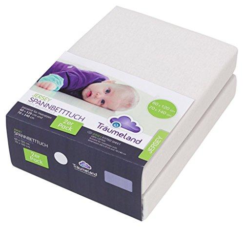Träumeland Spannbetttuch Jersey weiß Doppelpackung 60 x 120 cm / 70 x 140 cm
