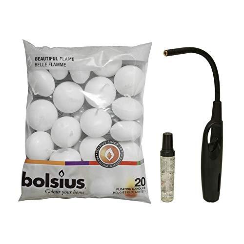 Bolsius, cfh set accenditore a gas turbo con ricarica gas accendino + 20 candele galleggianti bianco