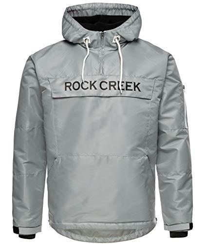 Rock Creek Herren Windbreaker Jacke Übergangsjacke Anorak Schlupfjacke Kapuze Regenjacke Winterjacke Herrenjacke Jacket H-167 Grau S