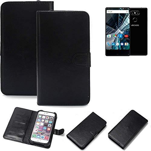 K-S-Trade Wallet Case Handyhülle für Archos Sense 55 S Schutz Hülle Smartphone Flip Cover Flipstyle Tasche Schutzhülle Flipcover Slim Bumper schwarz, 1x