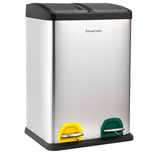 Russell Hobbs RH00140 Abfalltrenner für die Küche, 2-teilig, 40 l, Edelstahl, silberfarben, L40CMW35CMH59,5 cm