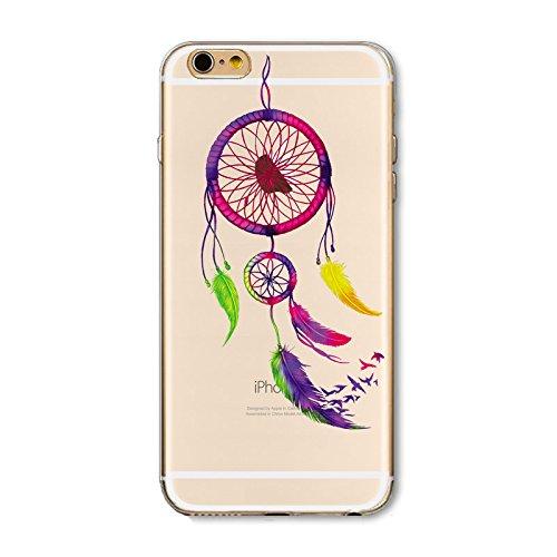 Coque Iphone 6 et 6S en Gel silicone souple transparent , Attrape reve Indien , dream catcher , Capteur de rêves , 1 Papillon perles 7 vent oiseaux