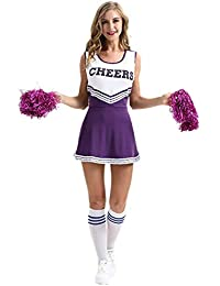 46d819b61 Jumojufol Vestido De Línea A De Deporte Elegante Disfraz De Animadora De  Estudiante para Mujer