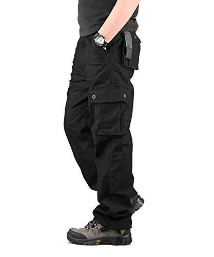Cargohose Herren Arbeitshose Stretch cargo pants loose casual mit Mehrere Tasche Sport,Arbeit,Freizeit Schwarz 50 (Militär Armee Gelben T-shirt)