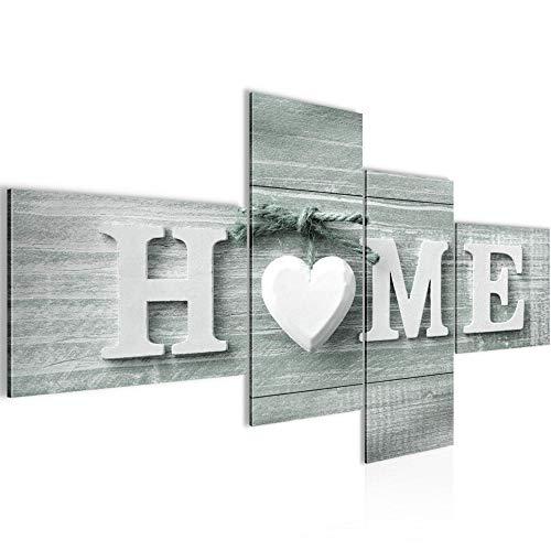 Runa Art Bilder Home Herz Wandbild 200 x 100 cm Vlies - Leinwand Bild XXL Format Wandbilder Wohnzimmer Wohnung Deko Kunstdrucke Grün 4 Teilig - Made in Germany - Fertig Zum Aufhängen 504441c