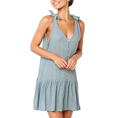 Go First Hot! Frauen Einfarbig Rüschen Strandkleid Sling Button V-Ausschnitt Schulterfrei Kleid Casual Large Size Minirock (Color : Light Blue, Size : Asian L= US M) Ausschnitt Button