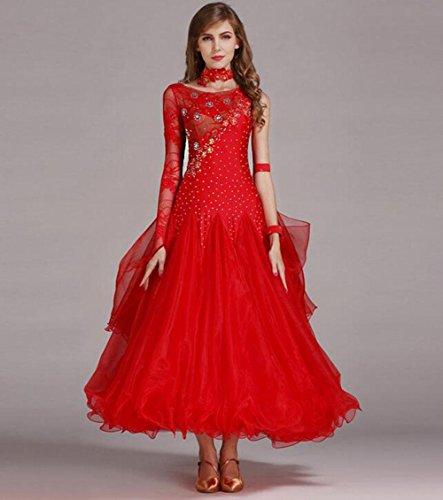 Moderne Wettbewerbs Kostüm Tanz - FGDJTYYJ Lace Stitching großen modernen Tanz Röcke GB Dance Wettbewerb Kleid, S