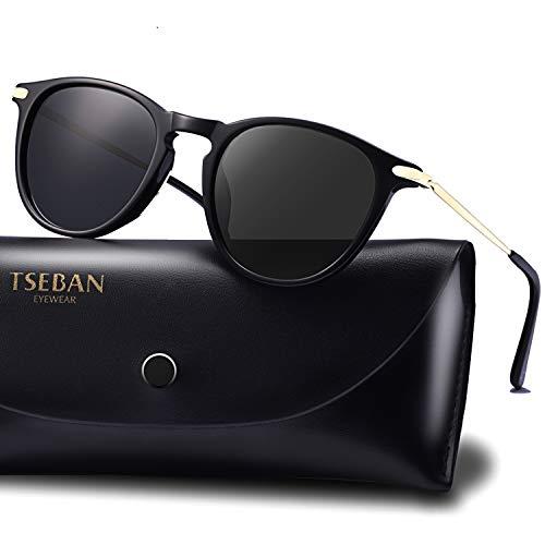 TSEBAN Vintage Damen Sonnenbrille Polarisierte Frauen Brille, Acetat-Rahmen & UV 400 Schutz (Rund/Schwarz)