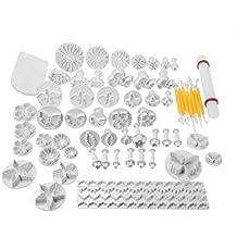 Gearmax® Set de de 68 piezas de cortadores de pastel, decoración, manualidad de azúcar, fondant, émbolo, galletas
