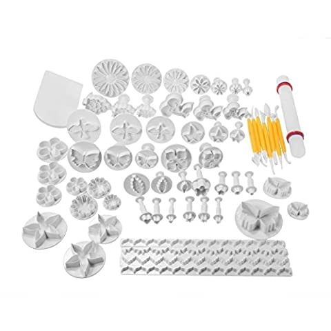 Gearmax® 68 pcs Cake / Cookie Decorating Cookies Mold Sugarcraft Decorating Kit Cutters, Smoothers and Plungers Tools - Flower Leaf