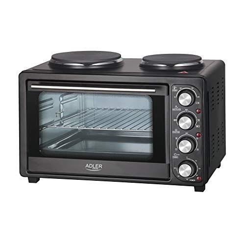 ADLER AD 6020 Minibackofen, 36 Liter, 2500 W, Backofen mit Kochplatten, Beleuchtung, - Pizzaofen Beleuchtung