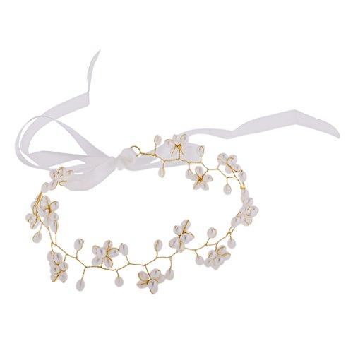 MagiDeal Mädchen Blume Perlen Stirnband Kopfstück Haarschmuck Kostüm - Gold - Kinder Blumen Kostüm