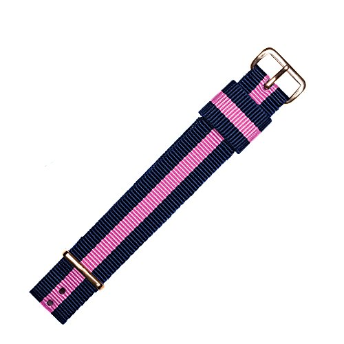 MARBURGER Uhrenarmband 18mm Textil Blau Pink - Uhrband Set 9511844000220 (Damen Maroon Herz)