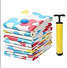 HOUZIE Vacuum Compressed Space Saver Storage Bag with 1 handpump Extra Strong Ultra Compression Ideal for Storing Clothes Pillows Curtains and Travelling Vaccum Bag(80 CM×100 CM,Set of 2,MultI-Coloured)
