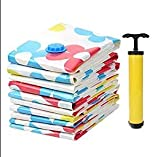 #10: HOUZIE Vacuum Compressed Space Saver Storage Bag with 1 handpump Extra Strong Ultra Compression Ideal for Storing Clothes Pillows Curtains and Travelling Vaccum Bag(80 CM×100 CM,Set of 2,MultI-Coloured)