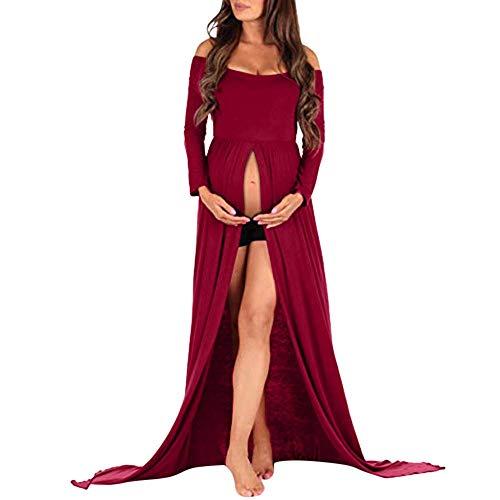 Damen Schwangerschaftskleid Elegante Freizeit Unifarben Wesentlich Geöffnete Gabel Kleid Für Schwangere Fashion Chic Langarm Schulterfreies Umstandskleid Festlich (Color : Rot, Size : 2XL)