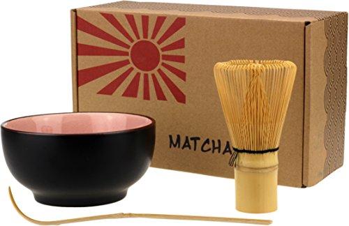 Taro - Juego de cuenco, escobilla y cuchara para té matcha