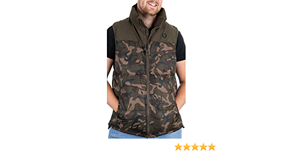 Angelbekleidung Fox Camo//Khaki RS Gilet Weste Kleidung Angelweste