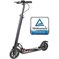 besrey Wheel Scooter Trottinette Pliable.Double système d'absorption des Chocs.pour Adultes et Adolescents. Frein à Main et à Pied, Noir Pur