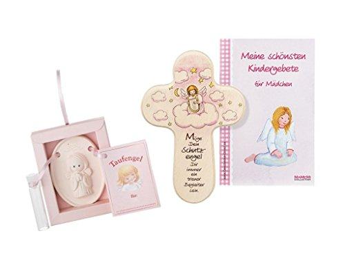 Taufgeschenk-Set: Weihwasser-Engelchen mit Gebetsbüchlein und passenden Mädchen-Kreuz zur Taufe
