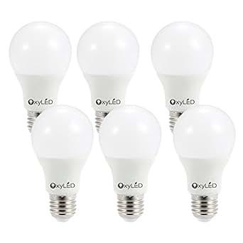 OxyLED 6-Pacco Lampada Bulbo a LED, 9W 3000K 810LM, A19 Lampada LED Bianco Caldo, Lampadine E27, Equivalente a 60W Incandescente Priva di Mercurio [Classe di efficienza energetica A]