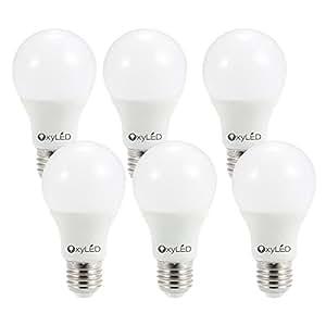 OxyLED Led Lampadine 9W E27, Pacco da 6, Lampadina a LED per la Casa, 60W Lampadina a Incandescenza di Ricambio, Luci a LED, 3000K e 810 Lumens, Non dimmerabile, Lampadine a Risparmio Energetico, Colore Bianco Caldo [Classe di efficienza energetica A]