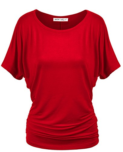 Womens short Sleeve Drape Top with Side Shirring shirt (Side Drape Top)