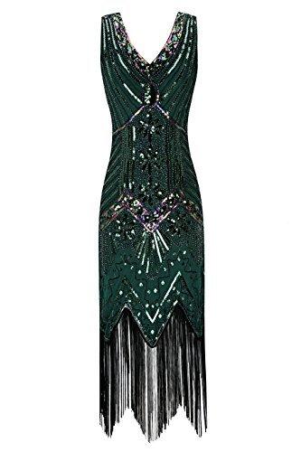 Metme Damen der 1920er Jahre V Ausschnitt Perlen Fransen Gatsby Thema Flapper Kleid für ()