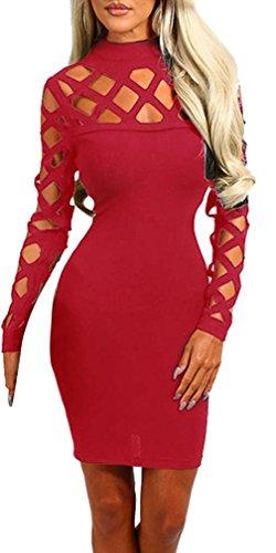 La Vogue Bodycon Féminin Robe Bandage Trou Col Haut Moulant Soirée Rouge