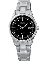 Seiko Quarz - Reloj para mujer, con correa de acero inoxidable, de color negro