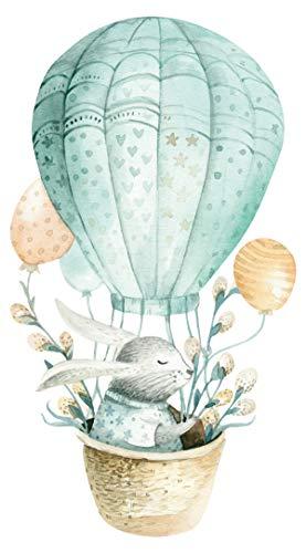 Wandtattoo Kinderzimmer Aquarell Hase im Heißluftballon Wandsticker Waldtiere